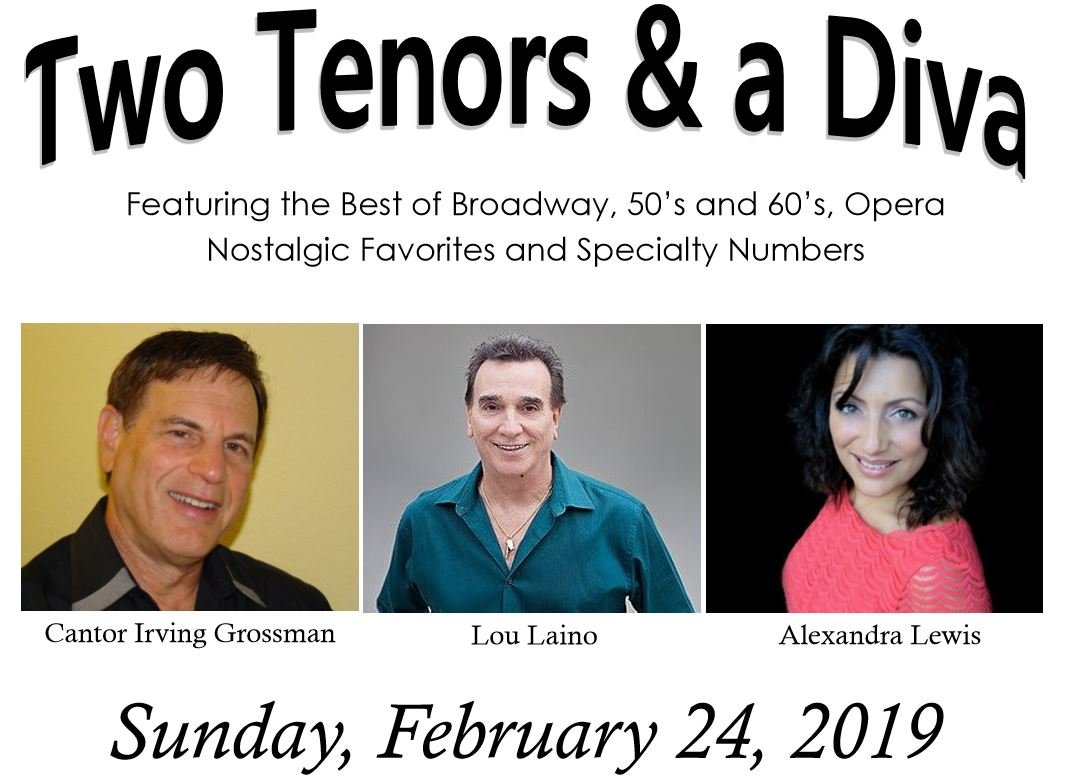 Temple Beth Tikvah Concert Two Tenors & A Diva